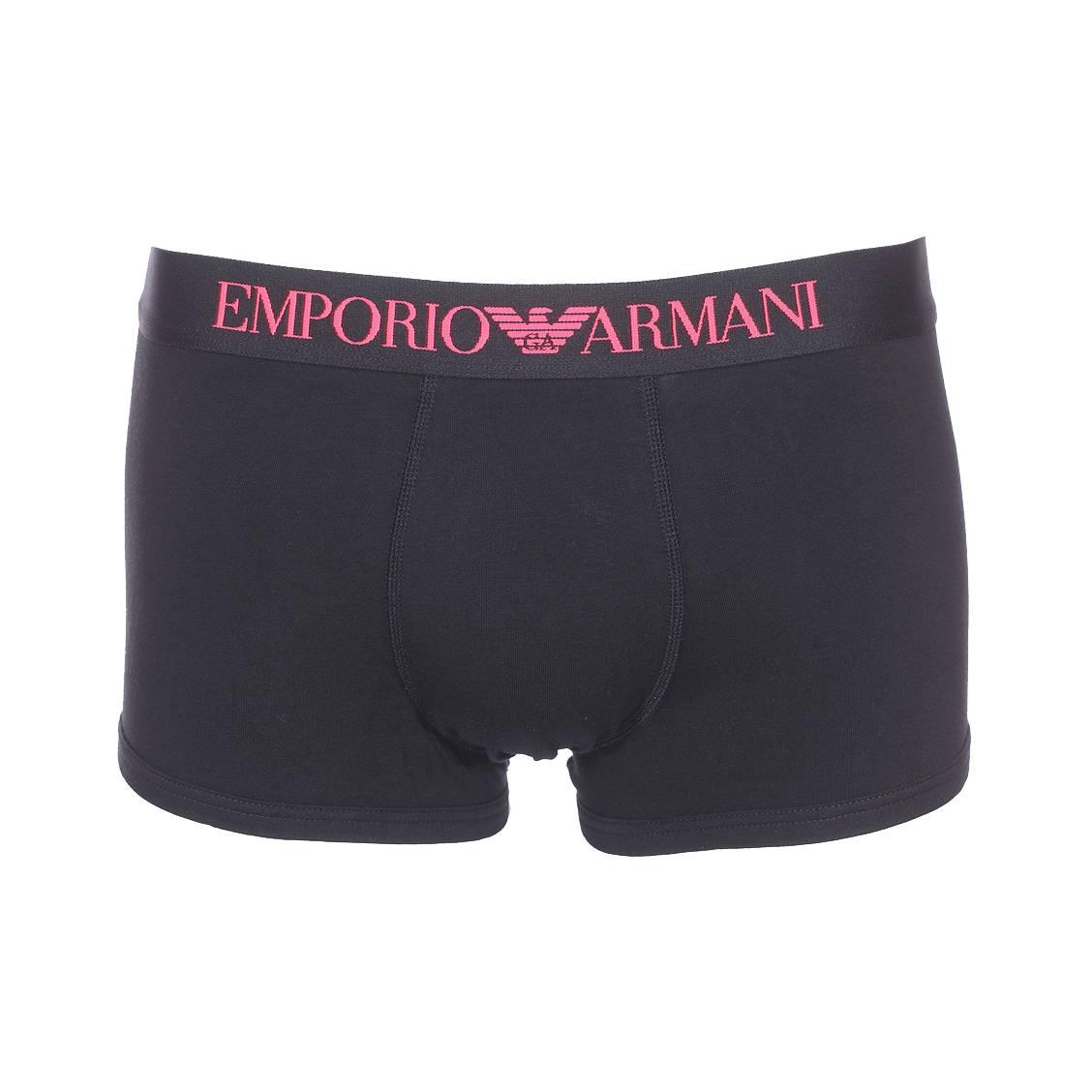 Boxer  en coton stretch noir et ceinture logotypée en rose foncé