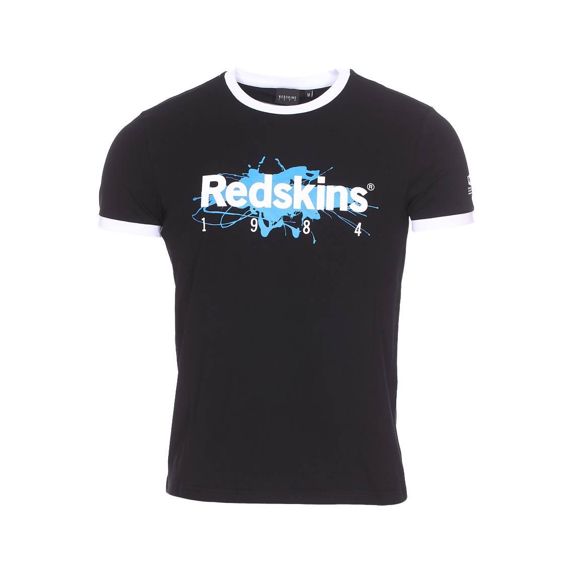 Tee-shirt col rond  kana calder en coton stretch noir floqué en bleu et blanc