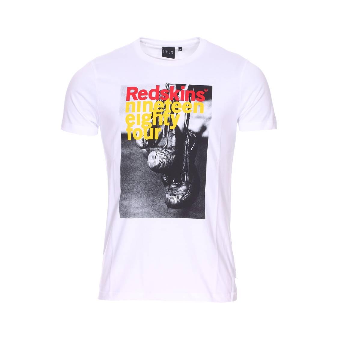 Tee-shirt col rond  glovy honda en coton blanc à flocage photographique gants de boxe