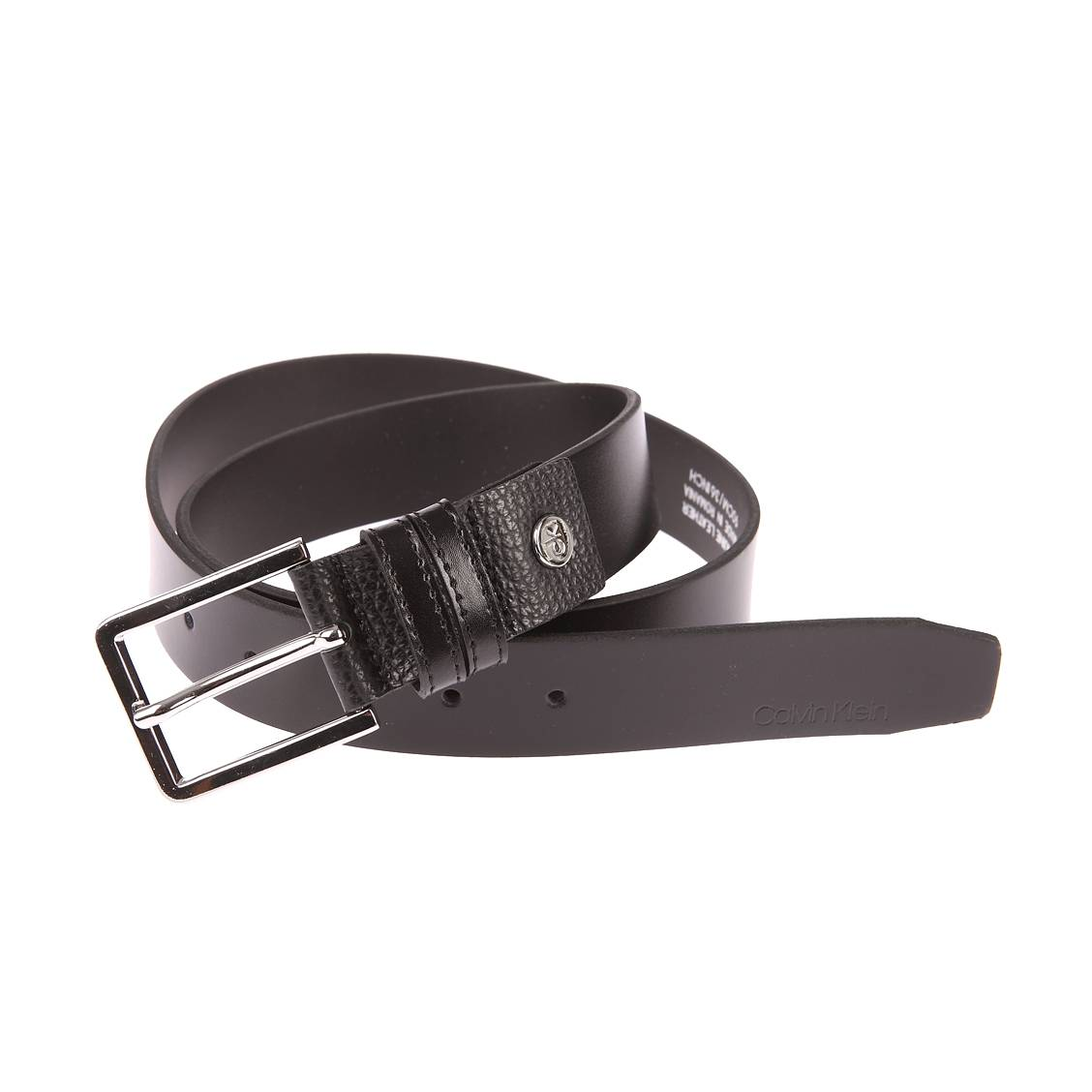 49ebf65706d Ceinture ajustable Calvin Klein Jeans Double Loop en cuir véritable noir à  double passant et boucle ...