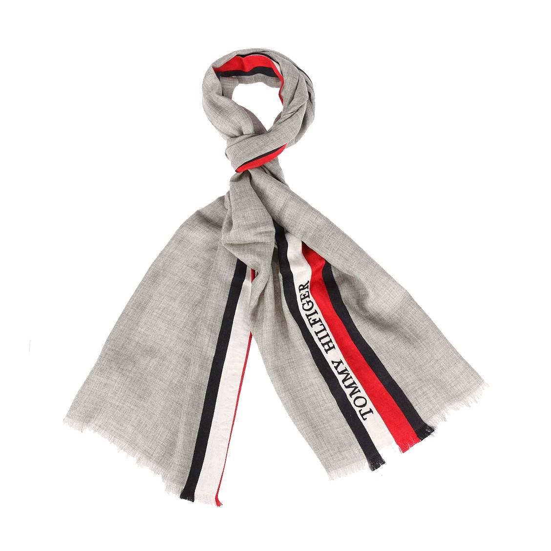 Foulard tommy hilfiger pop corporate stripe en laine mélangée gris chiné