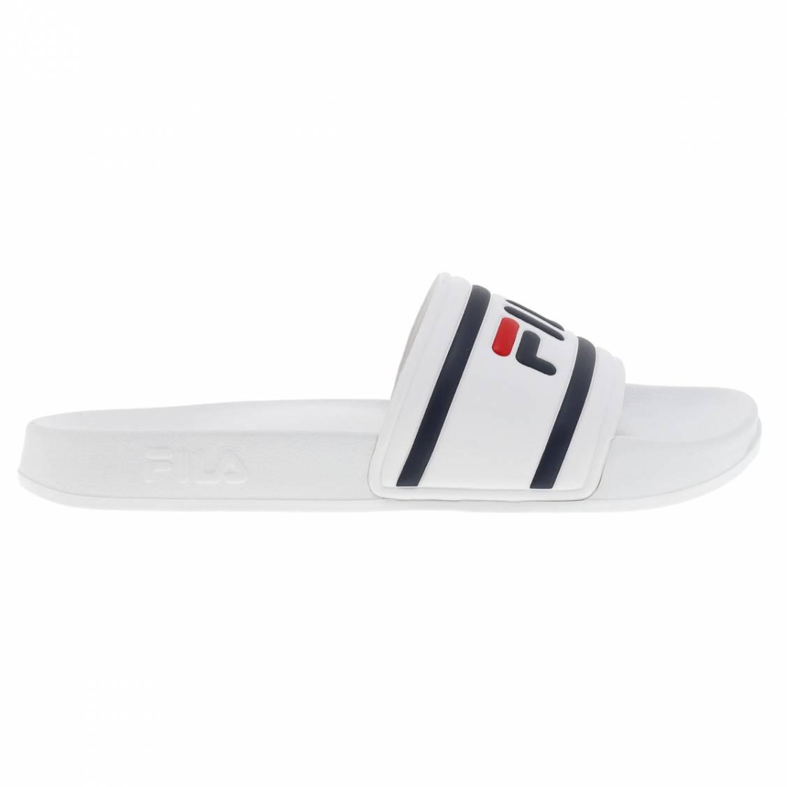 Sandales  blanches à logo bleu marine