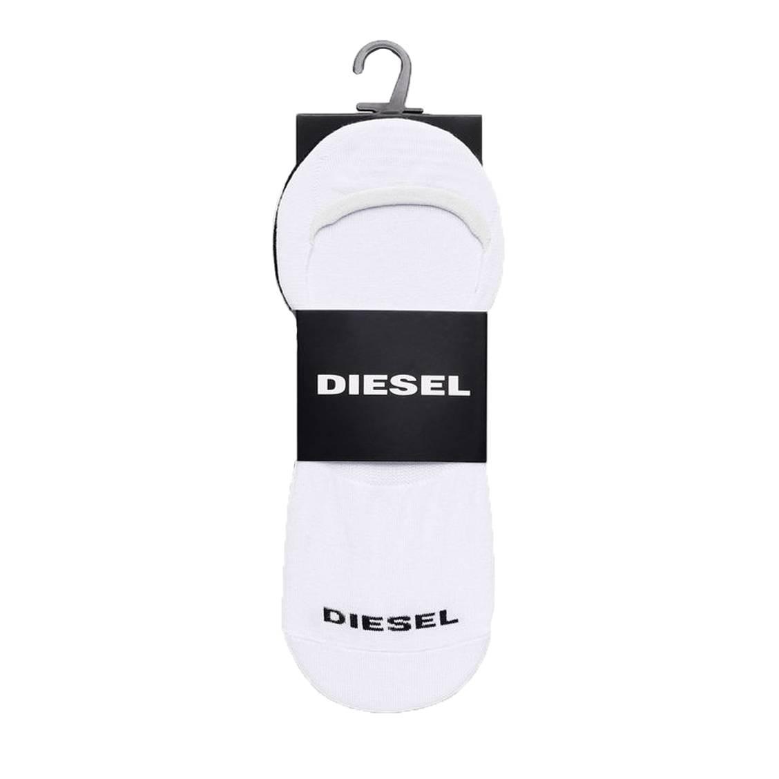 Lot de 2 chaussettes invisibles diesel noshow en coton stretch blanc et noir