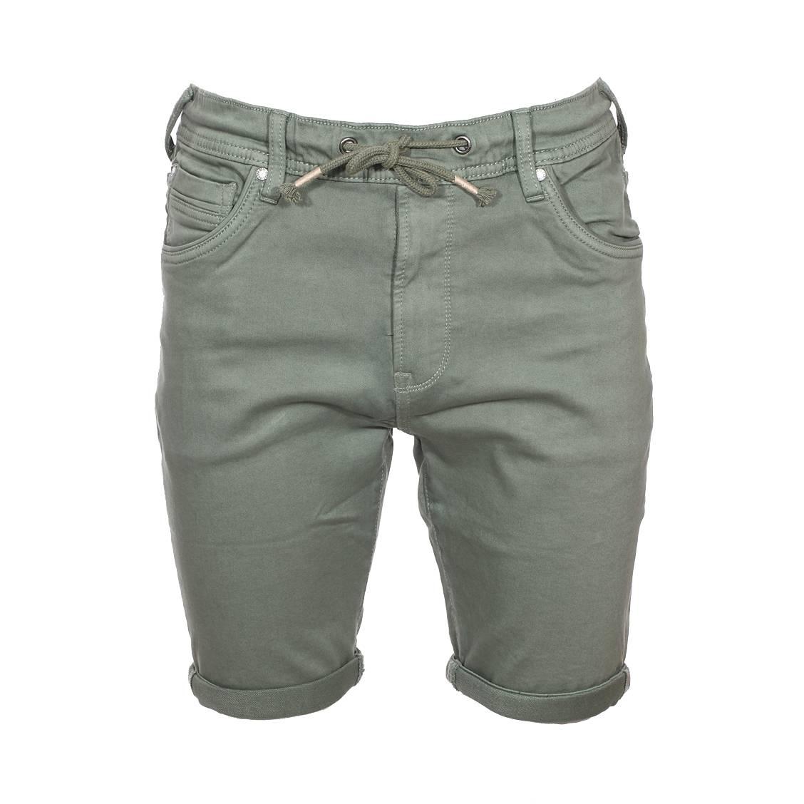 Short  jagger en coton stretch vert kaki