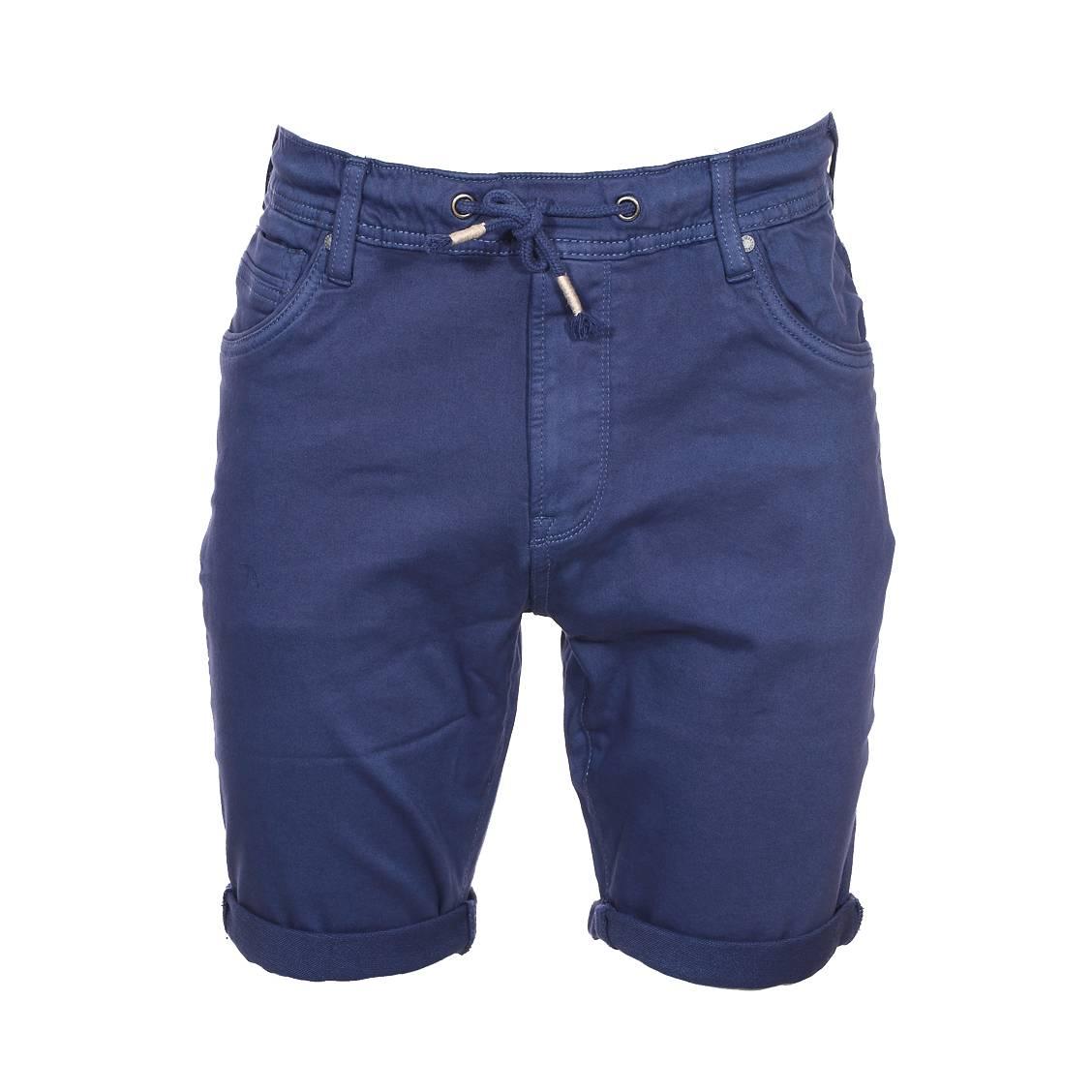 Short  jagger en coton stretch bleu marine