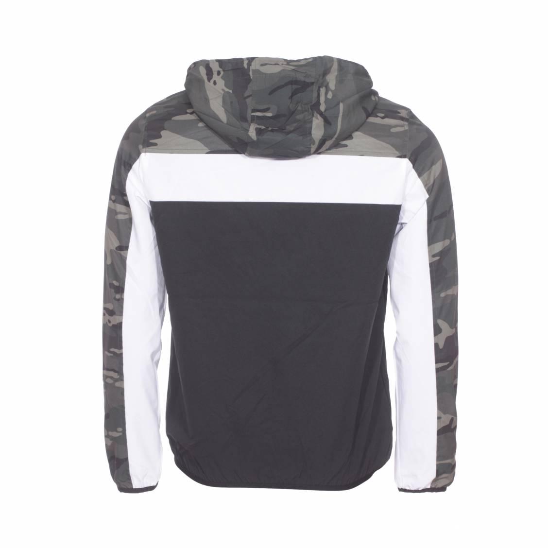 Veste zippée à capuche Deeluxe Est. 74 Frizzy noire à bande blanche et à imprimé camouflage vert kaki sur les épaules | Rue Des Hommes