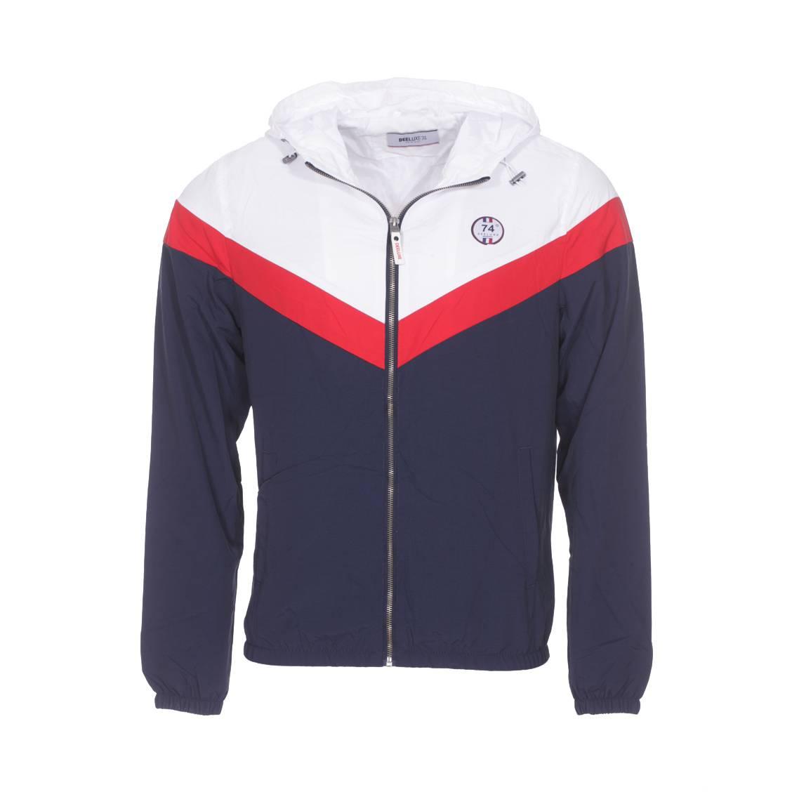 Veste zippée à capuche  retro bleu marineà bande rouge et épaules blanches