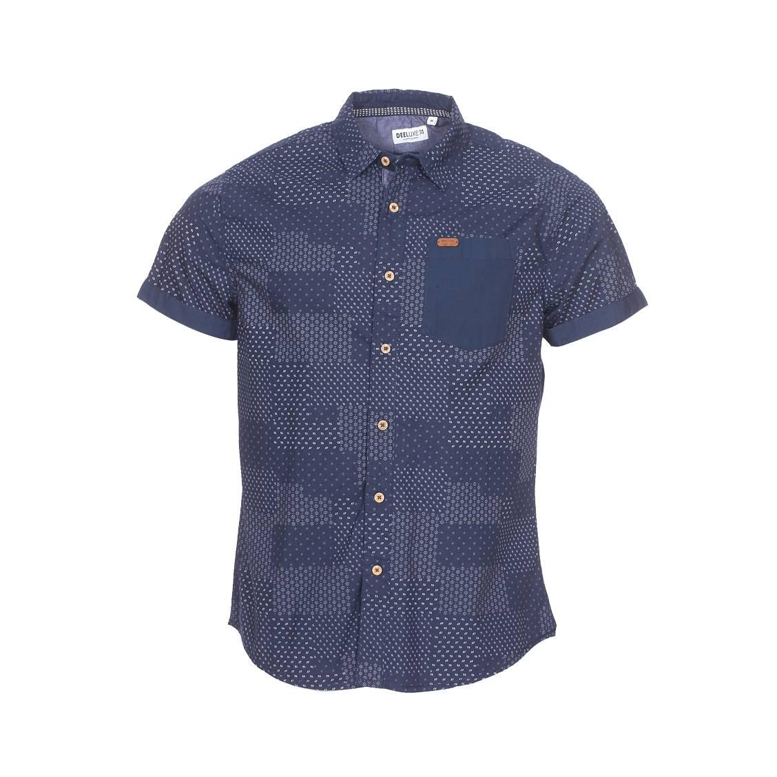 Chemise ajustée manches courtes Deeluxe Est. 74 Ethnic en coton bleu marine à motifs blancs