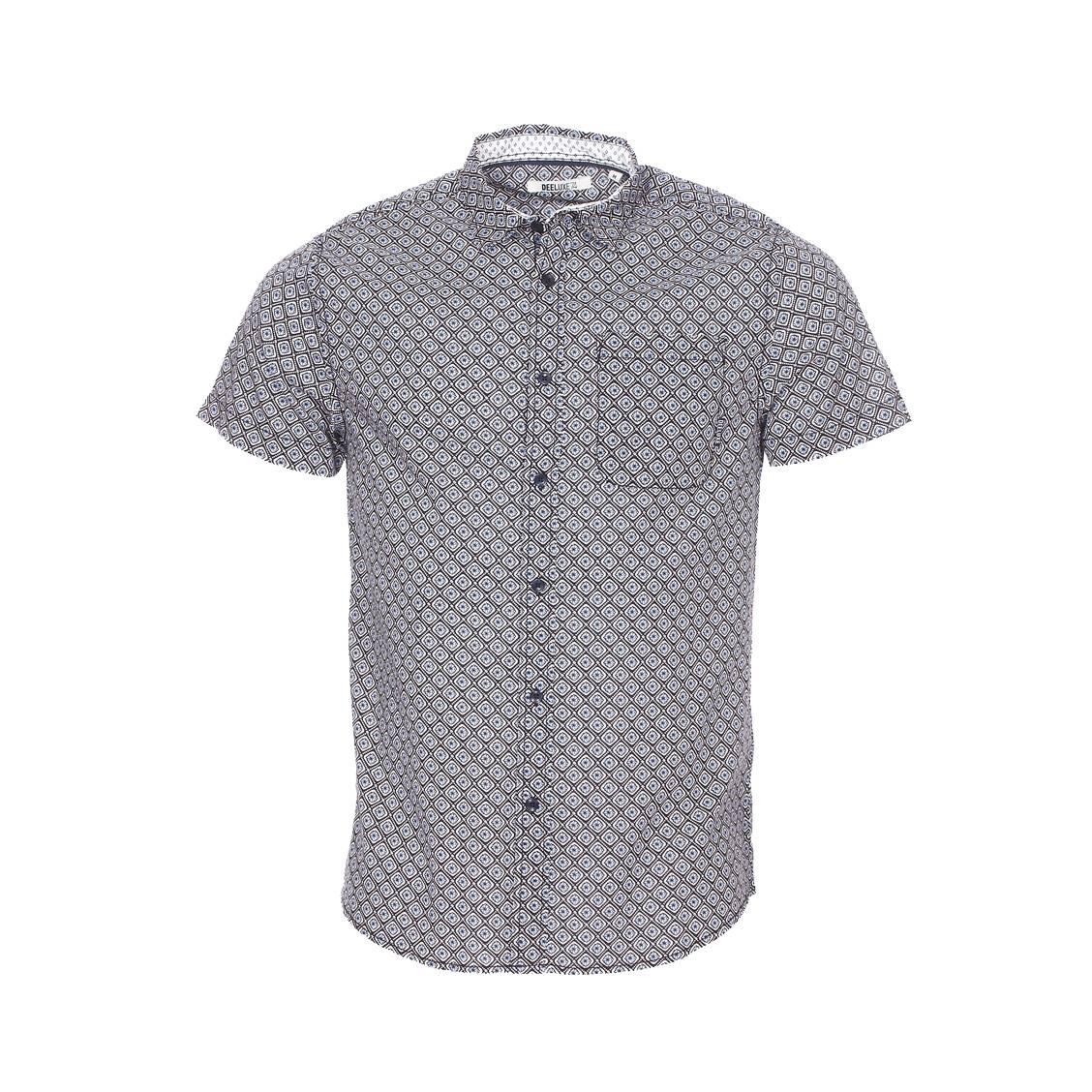 Chemise ajustée manches courtes Deeluxe Est. 74 Carillo en coton léger noir à motifs blancs et bleu ciel
