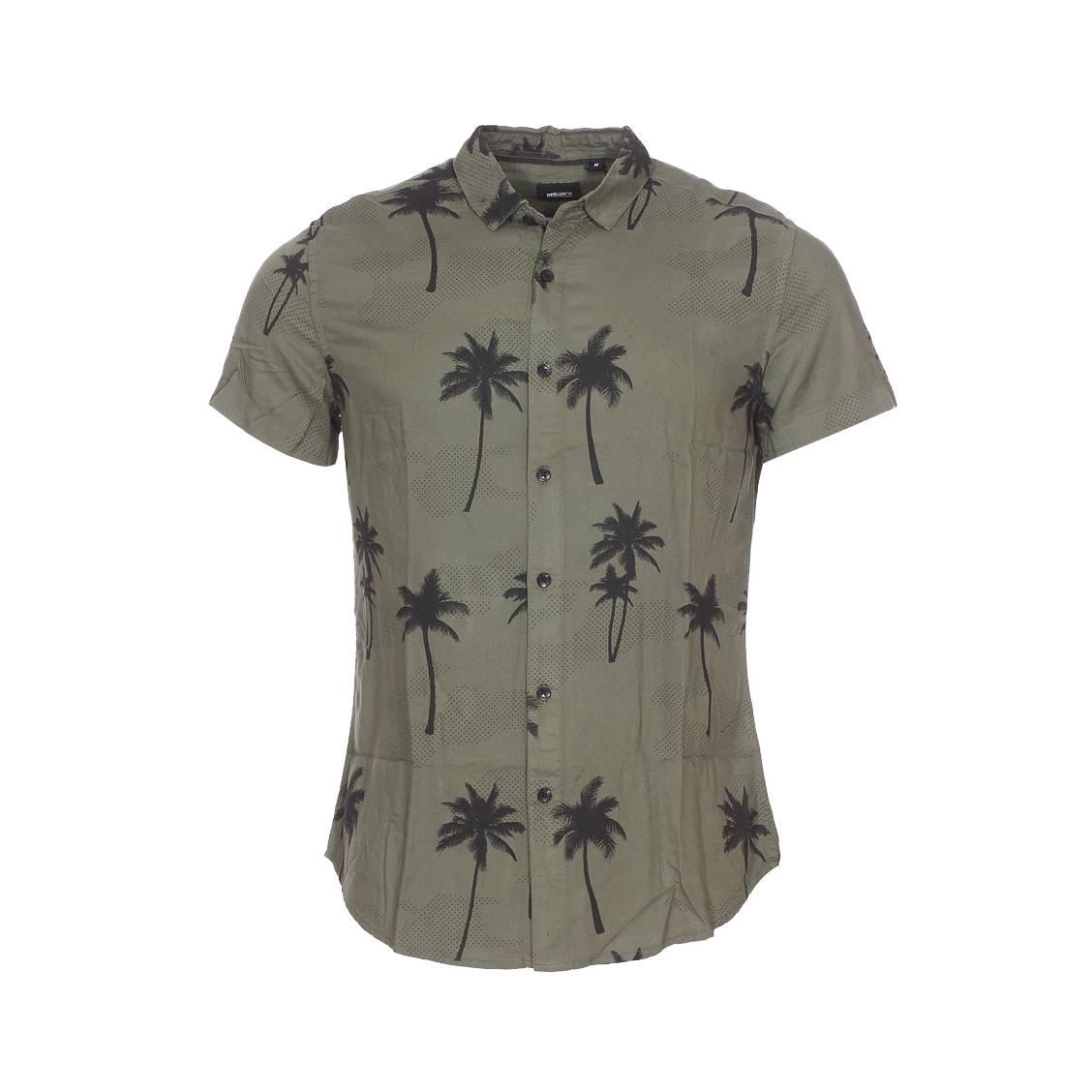 Chemise ajustée manches courtes  prince en coton mélangé léger vert kaki à motifs palmiers et pois noirs
