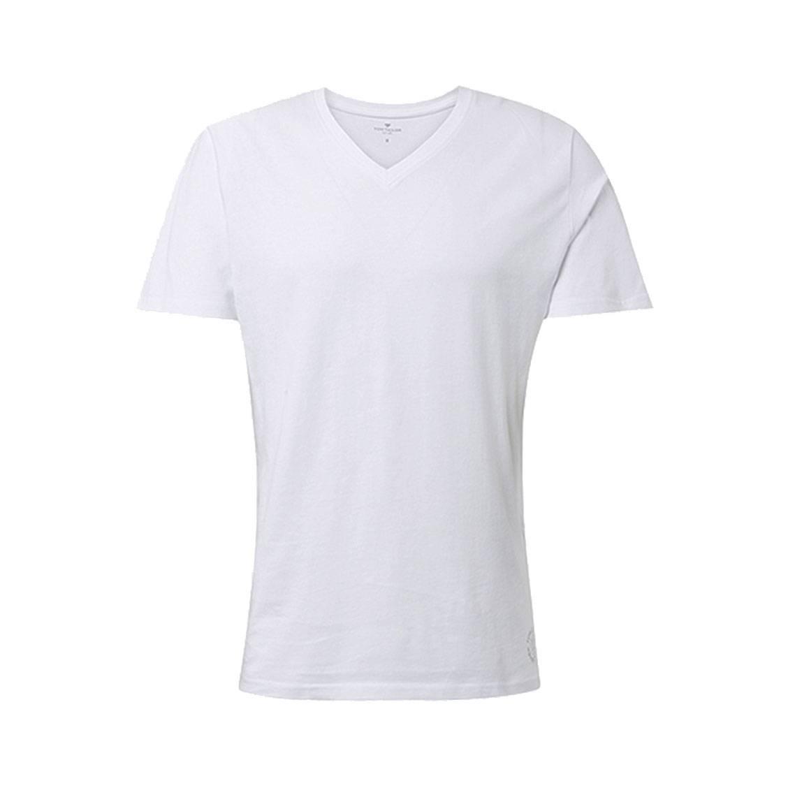 lot de deux tee shirts col v tom tailor en coton blanc. Black Bedroom Furniture Sets. Home Design Ideas