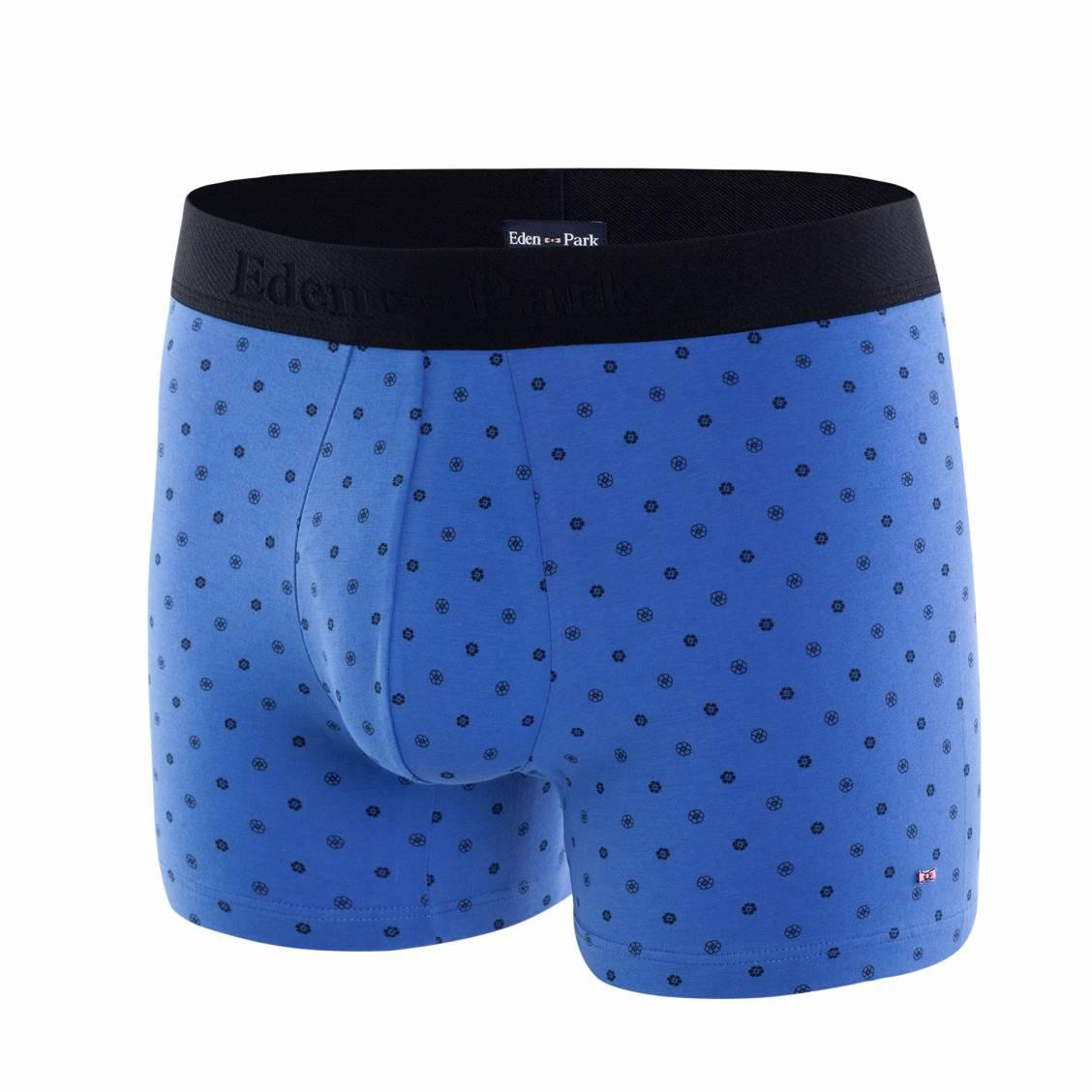 Boxer eden park en coton stretch bleu à motif floral noir