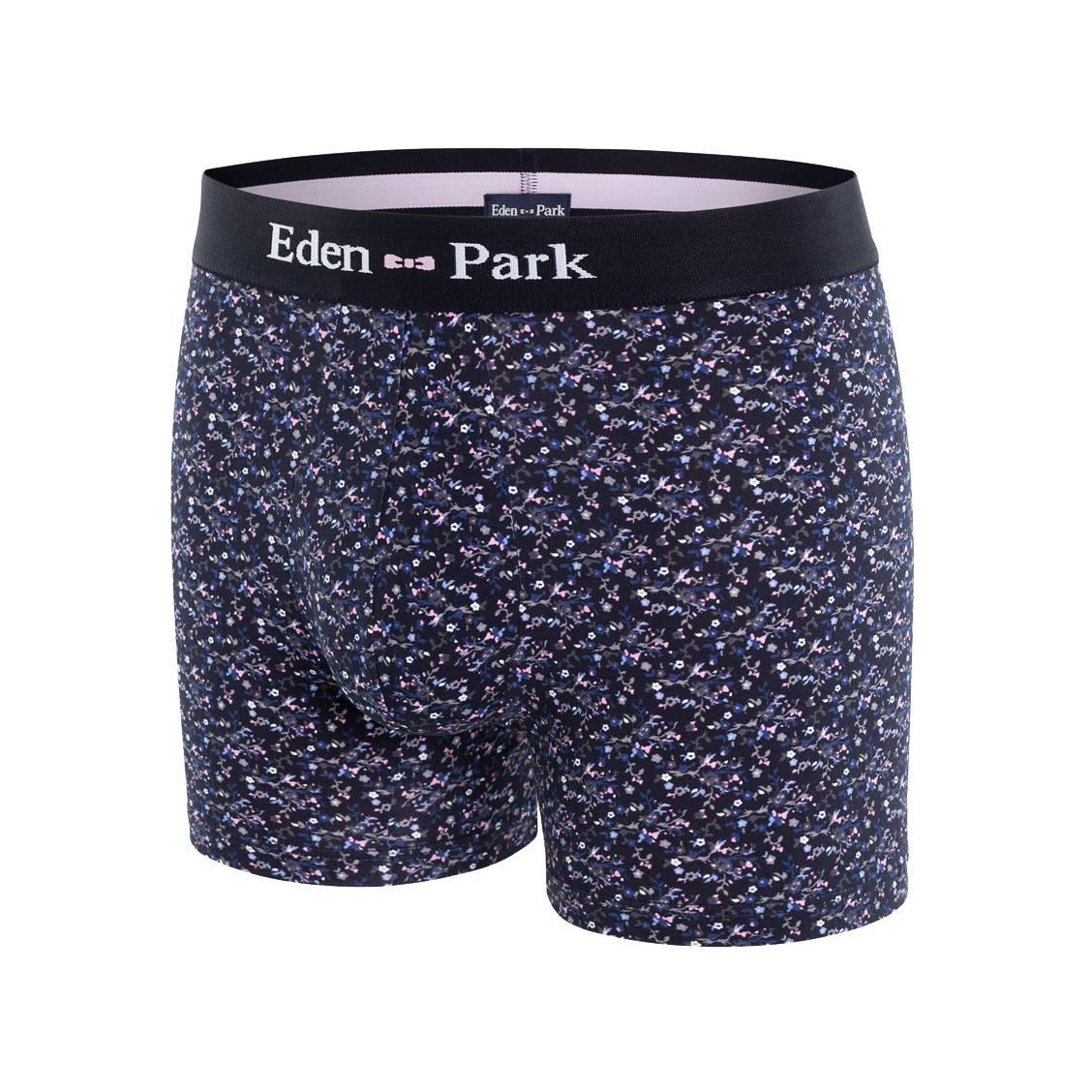 Boxer eden park en coton stretch noir à imprimé floral multicolore