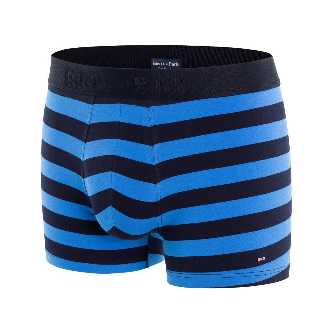 Boxer eden park en coton stretch bleu pétrole à rayures bleu marine
