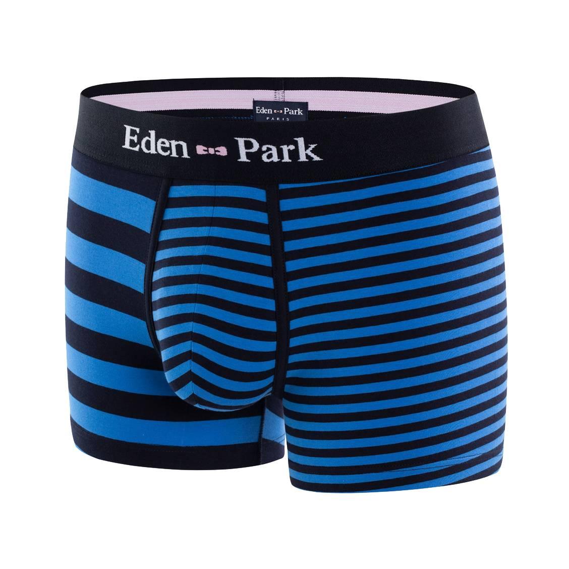 Boxer eden park en coton stretch bleu pétrole à rayures dissymétriques bleu marine