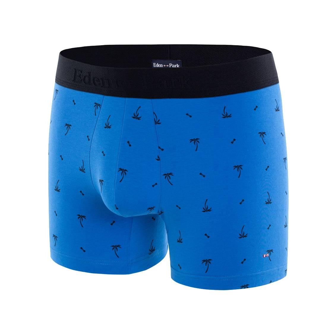 Boxer eden park en coton stretch bleu pétrole à imprimés palmiers et n?uds papillon noirs