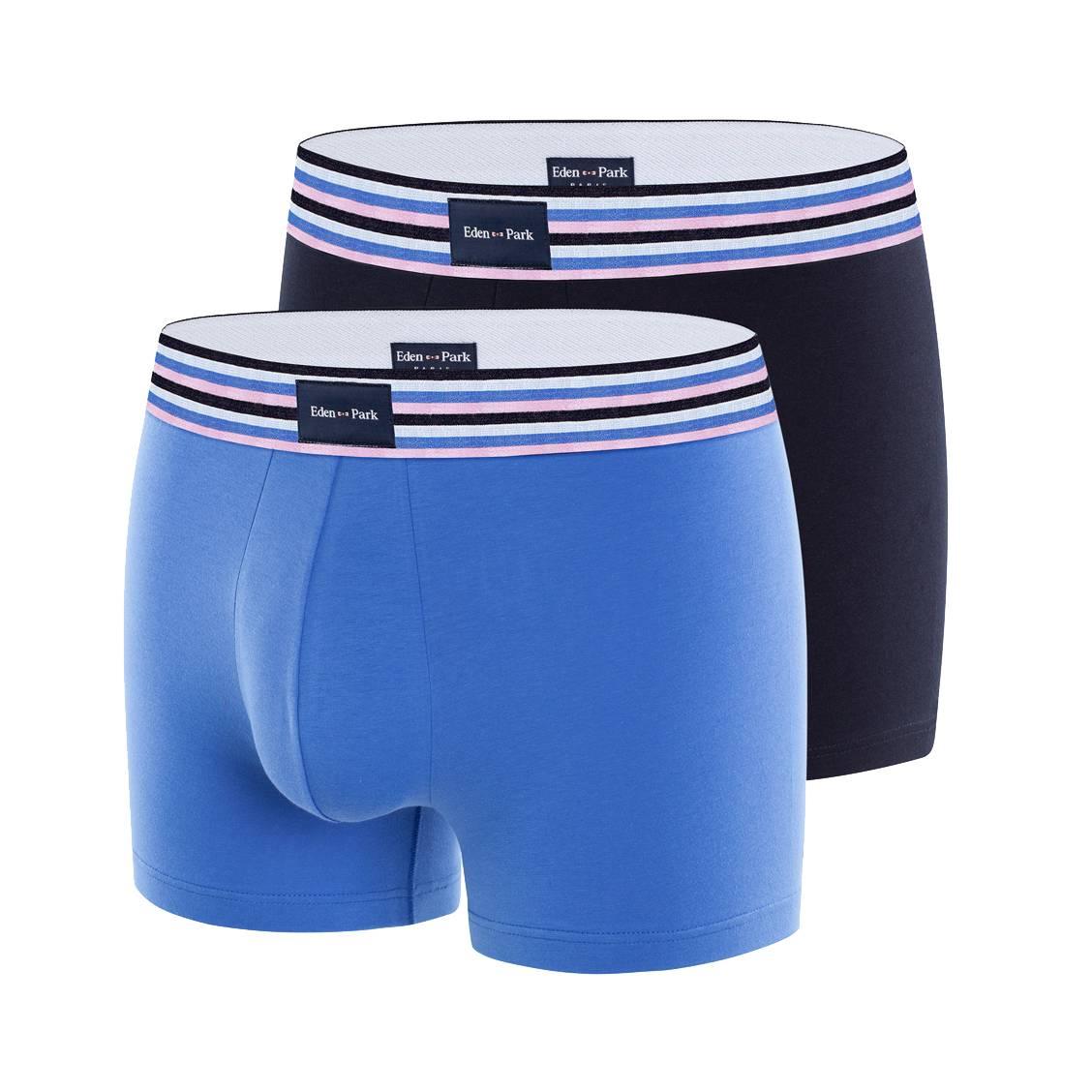 Lot de 2 boxers eden park en coton stretch bleu marine et bleu pétrole