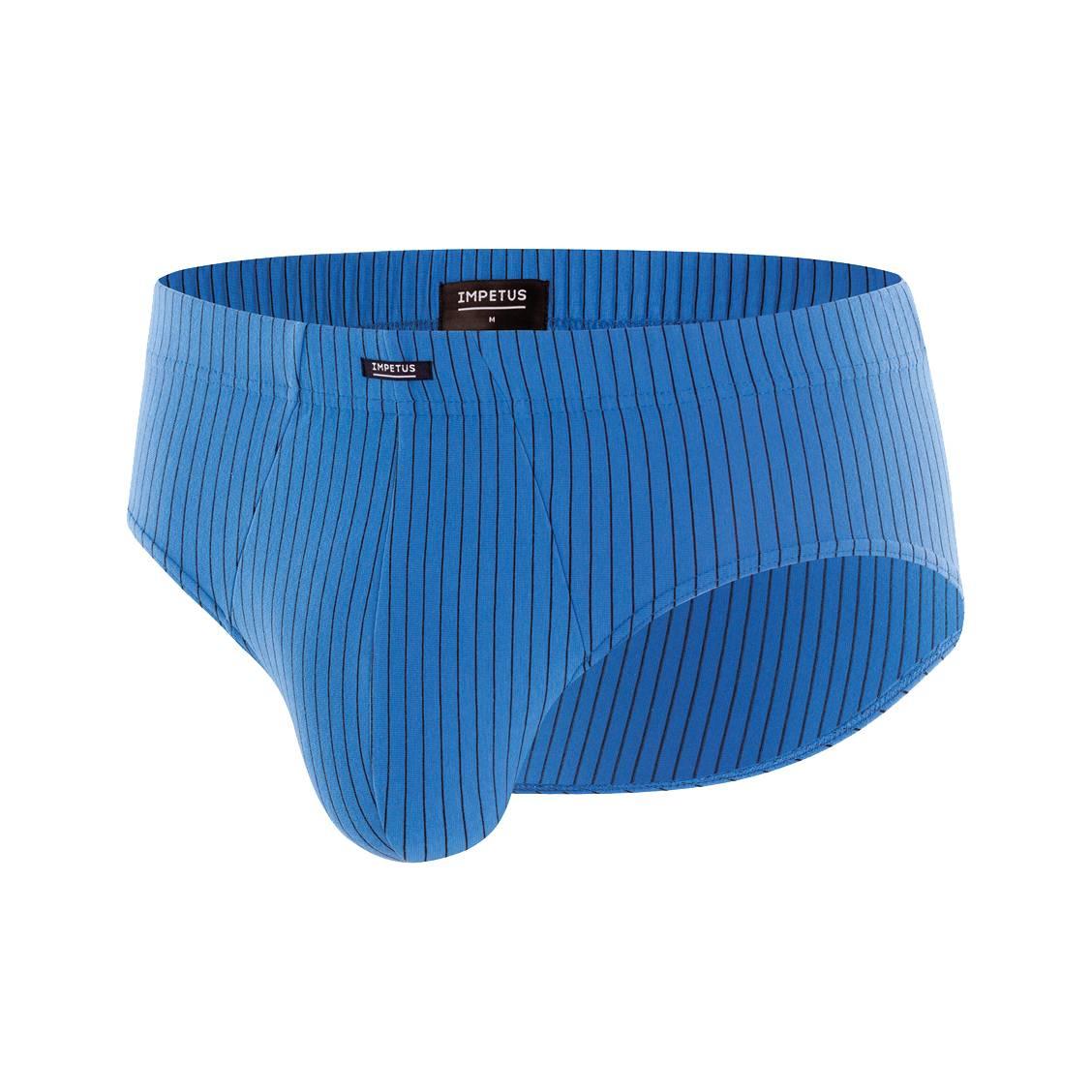 Slip taille basse Impetus en coton stretch bleu pétrole à fines rayures bleu marine