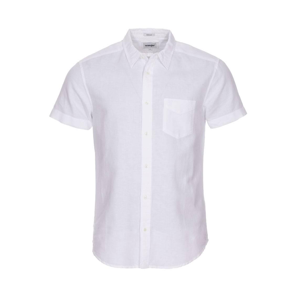 Chemise ajustée manches courtes  en lin et coton blanc