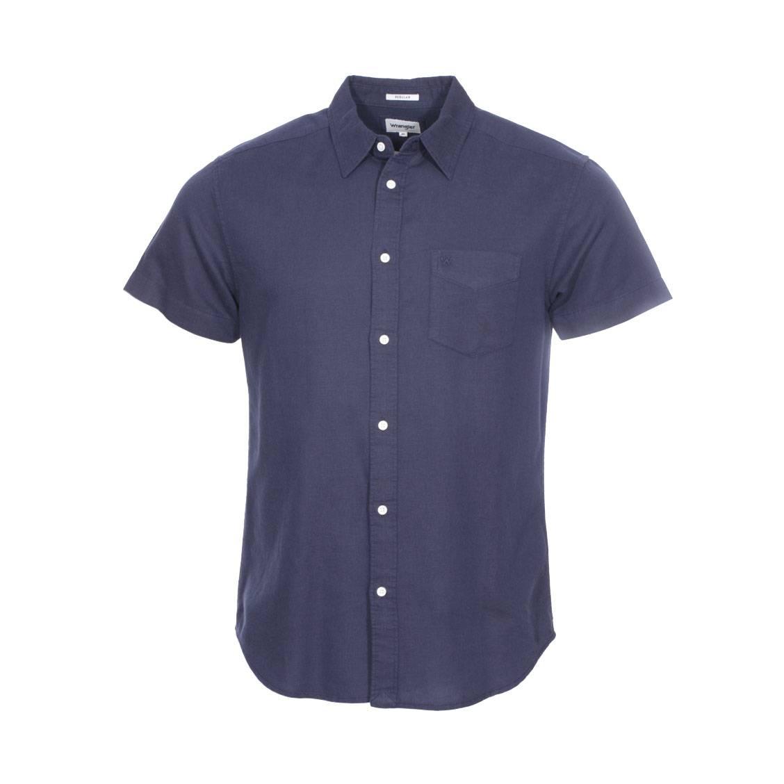 Chemise ajustée manches courtes  en lin et coton bleu marine