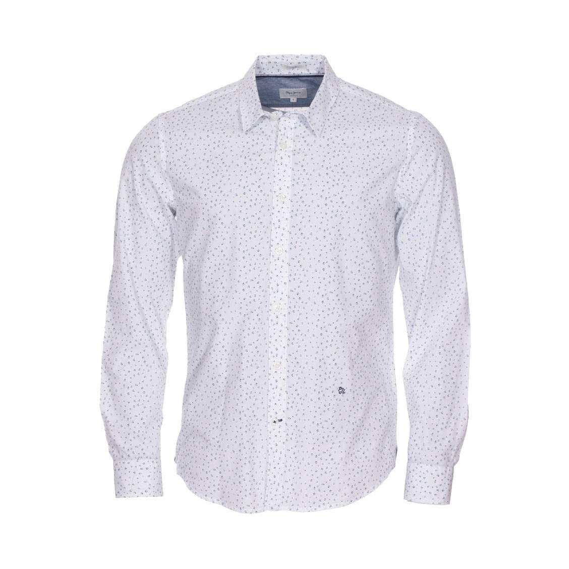 Chemise ajustée  en coton blanc à motifs bleus