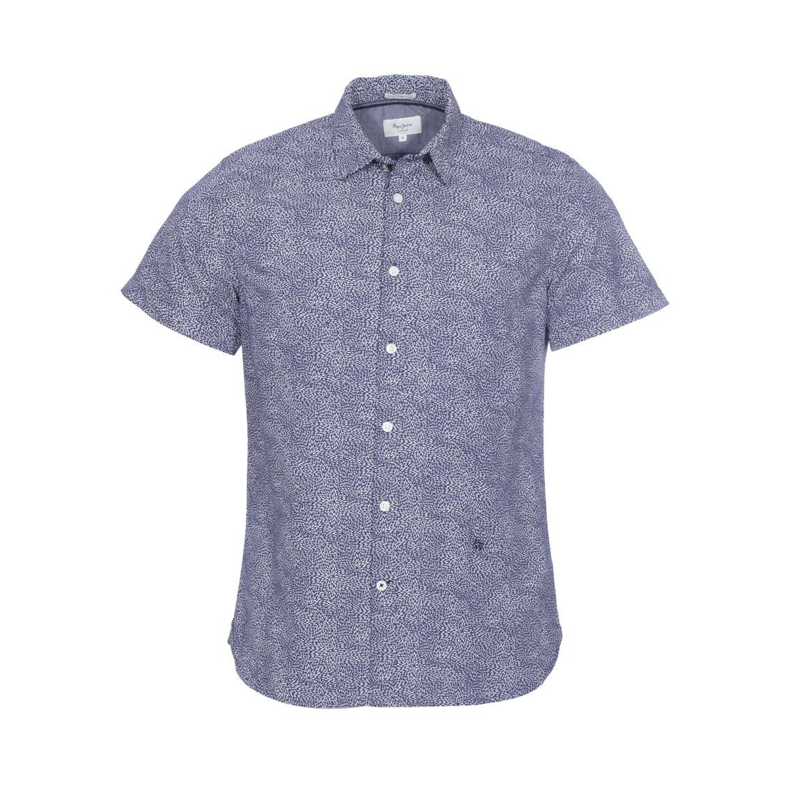 Chemise cintrée  en coton bleu à motifs blancs