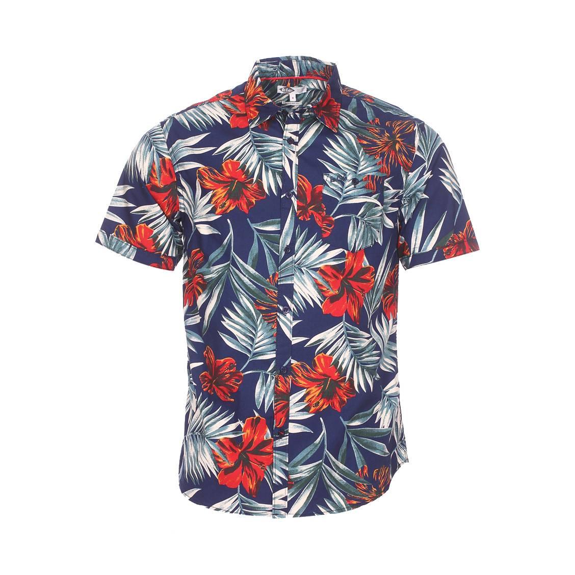 Chemise ajustée manches courtes  drust en coton bleu marine à motifs tropicaux rouges et verts