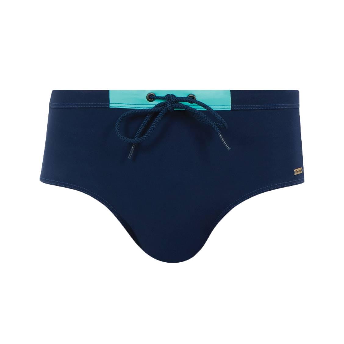 Slip de bain Eminence bleu marine à détails vert d'eau