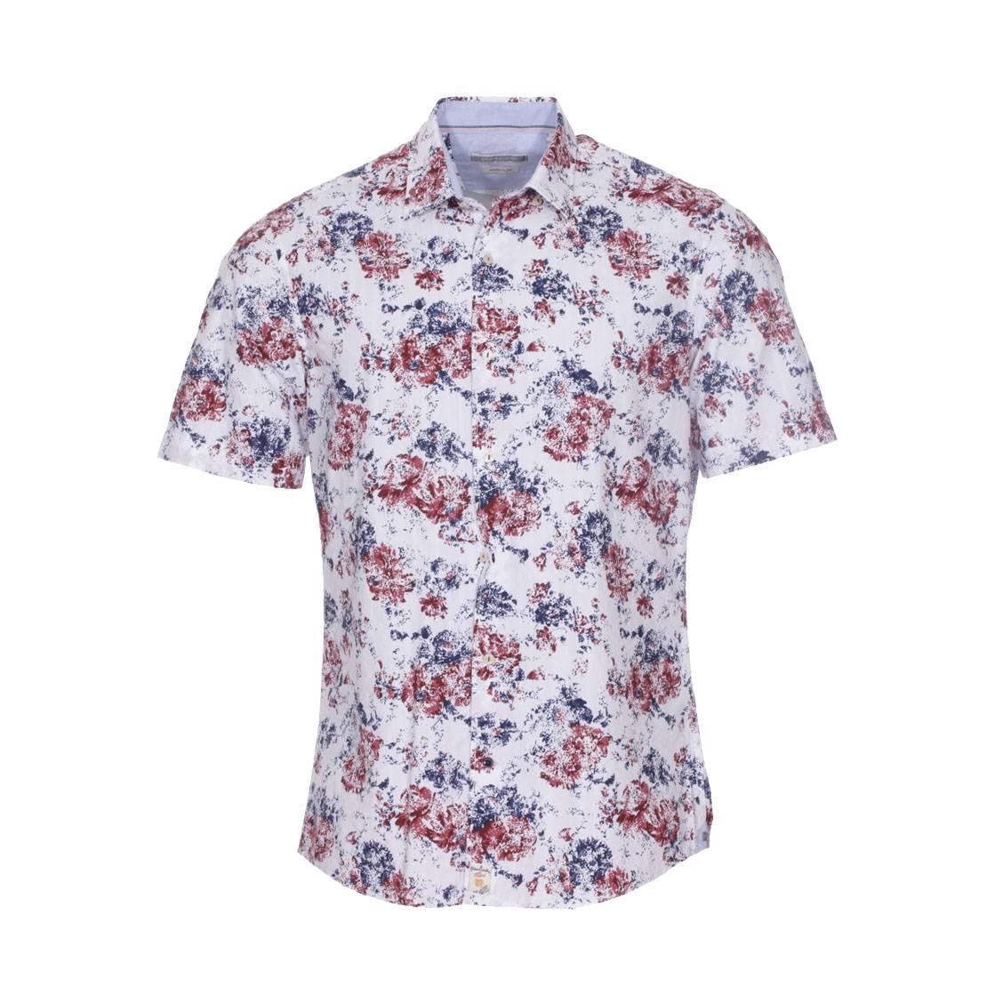 Chemise ajustée  en coton blanc à motifs fleuris bleu marine et rouges