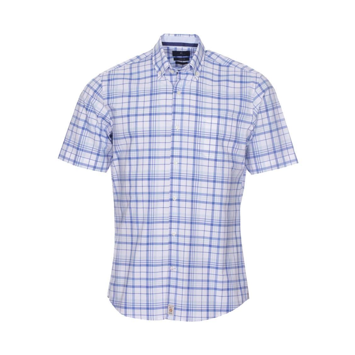 Chemise cintrée  en coton à carreaux bleu turquoise, bleui indigo et blancs