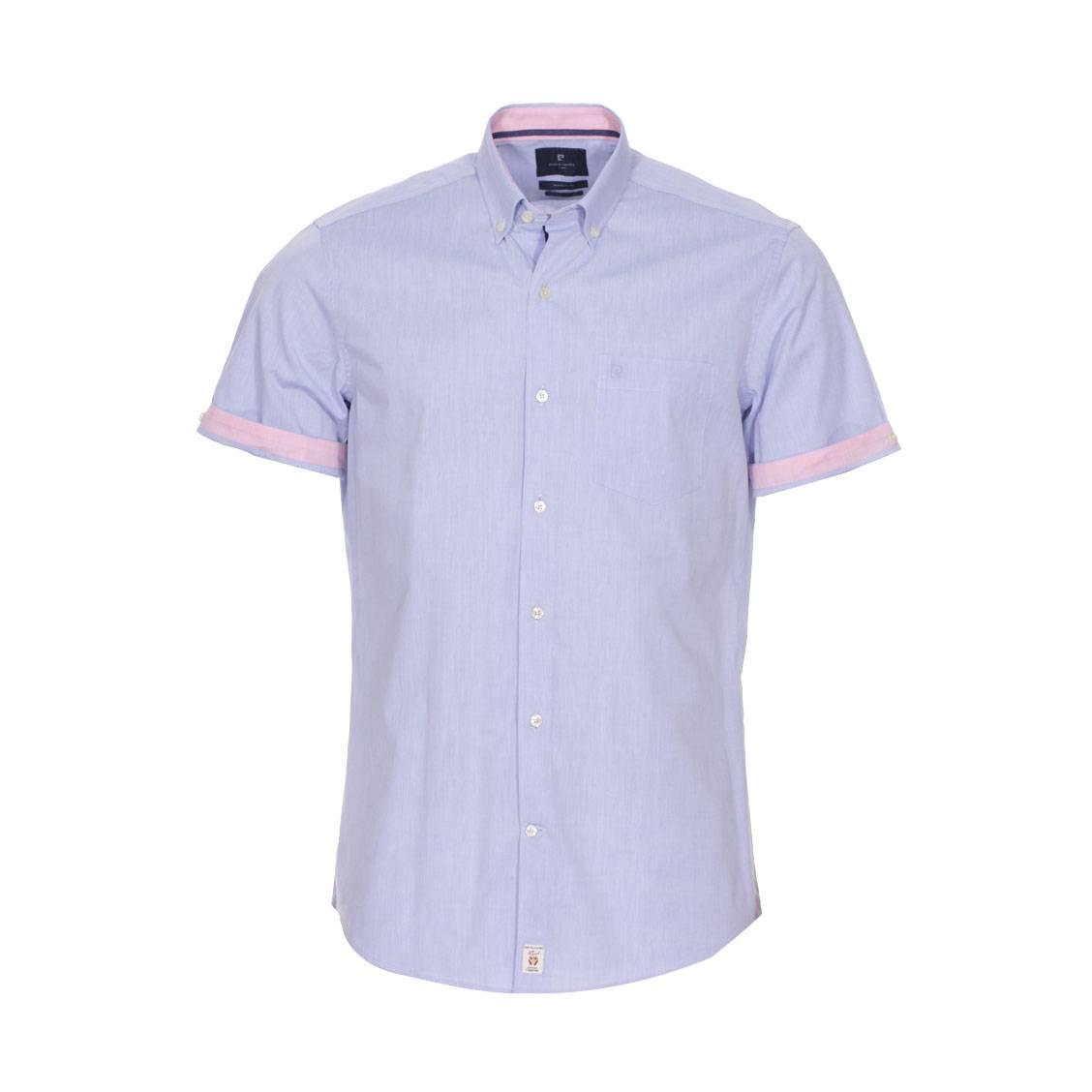 Chemise ajustée  en coton bleu à détails roses