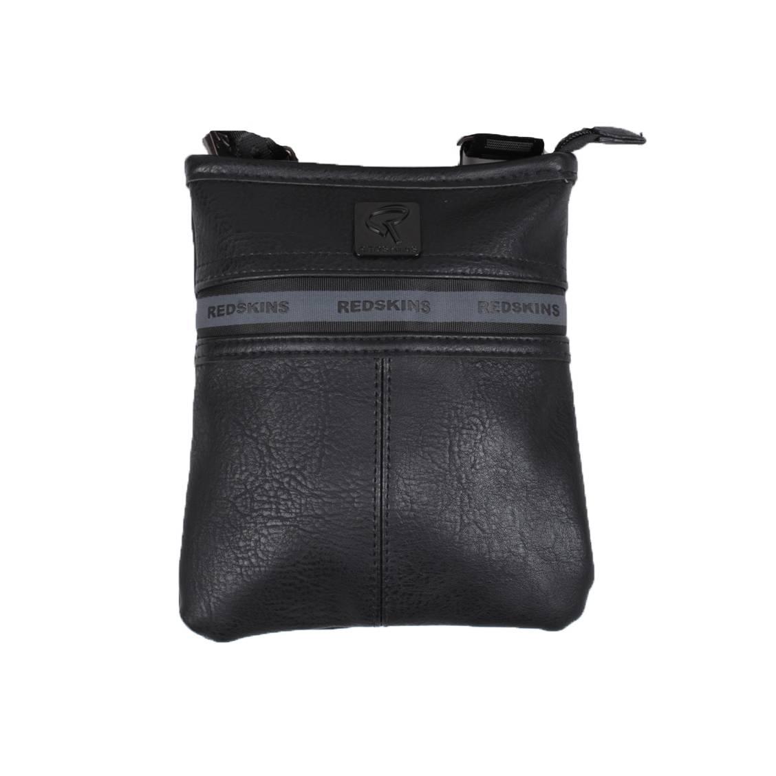 Petite sacoche plate porté croisé redskins gold noire à liseré gris