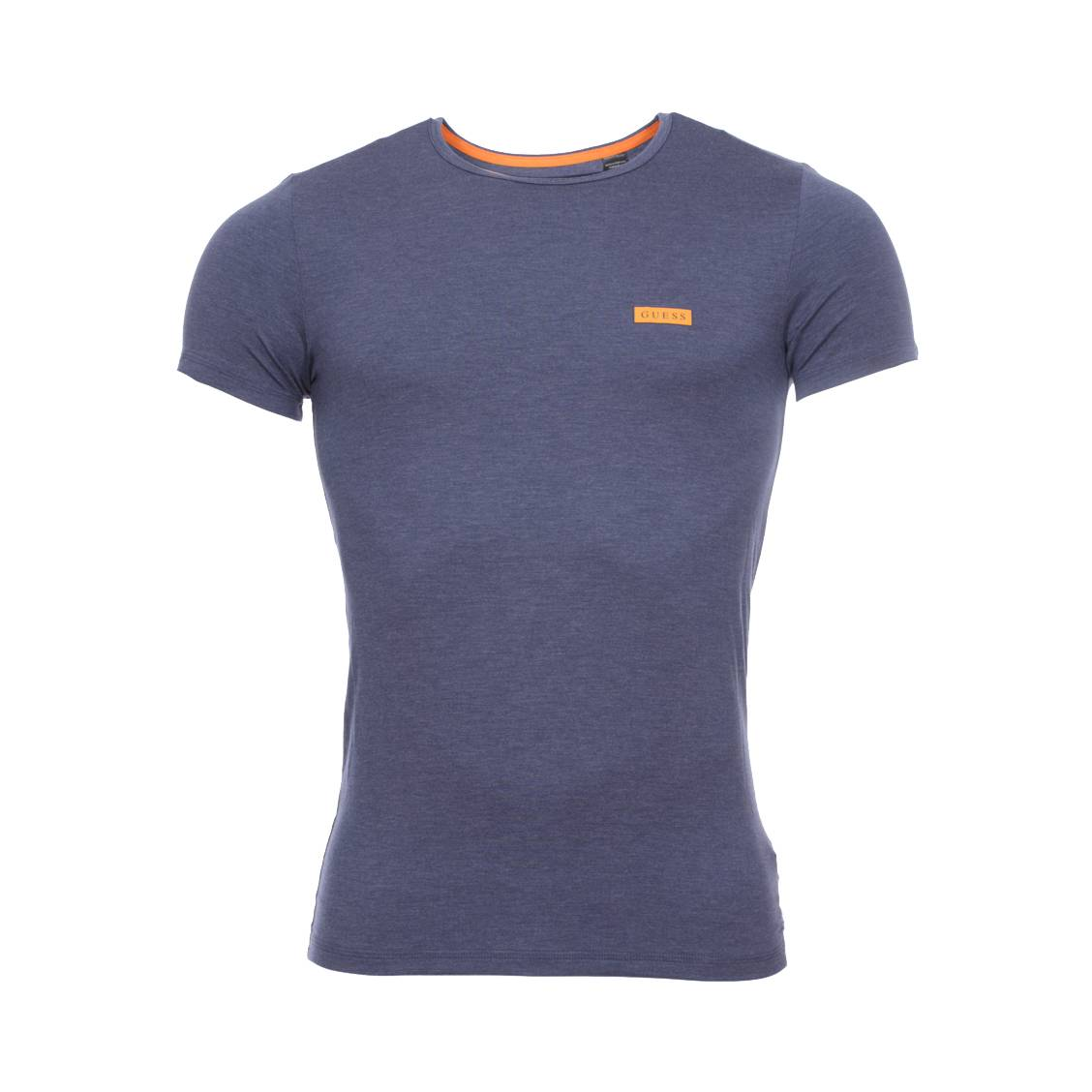 Tee-shirt col rond guess en lyocell stretch bleu pétrole chiné à logo bleu marine sur fond orange