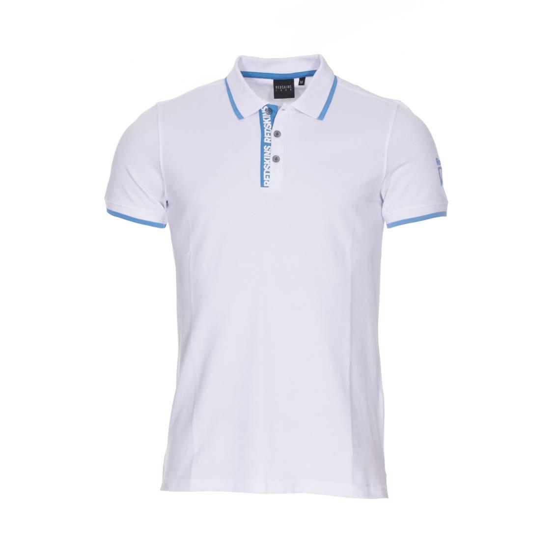 Polo  aligo en coton stretch piqué blanc à détails bleu cyan