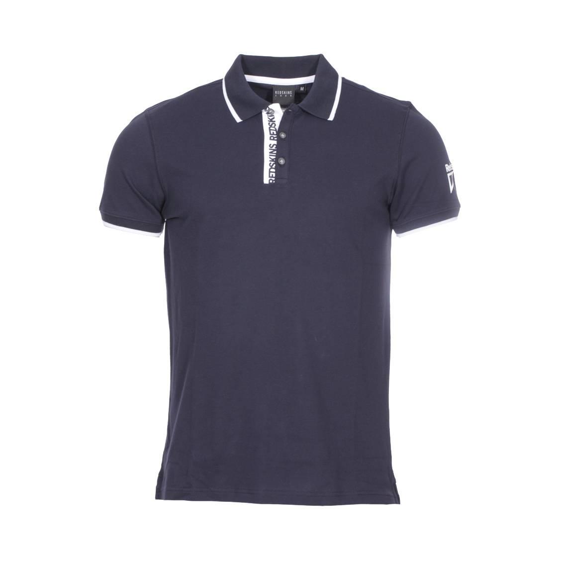 Polo  aligo en coton stretch piqué bleu marine à détails blancs