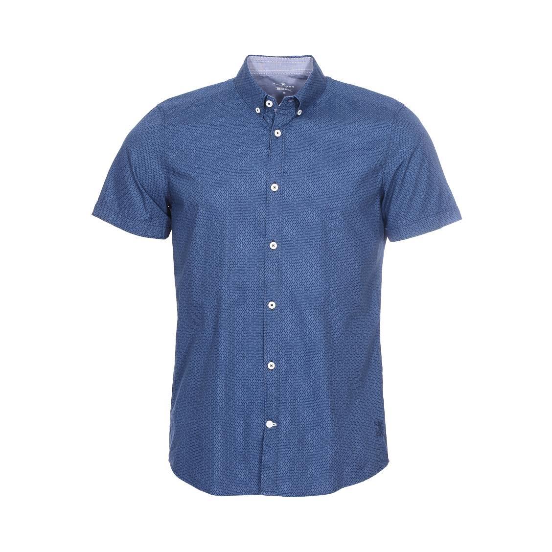 Chemise ajustée manches courtes  floyd en coton bleu marine à imprimés graphiques bleus