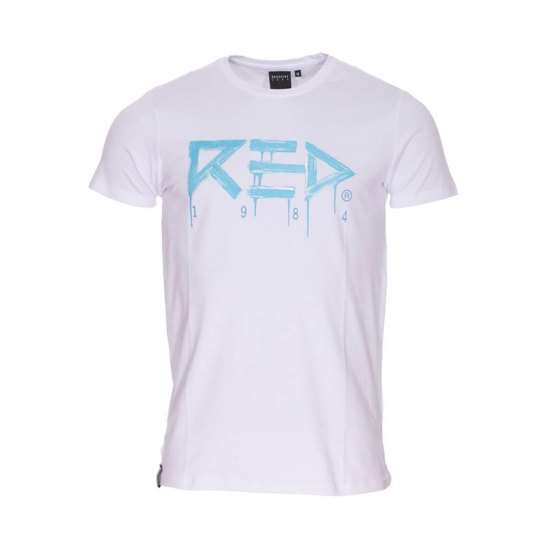 Tee-shirt col rond  undefeated en coton stretch blanc floqué en bleu