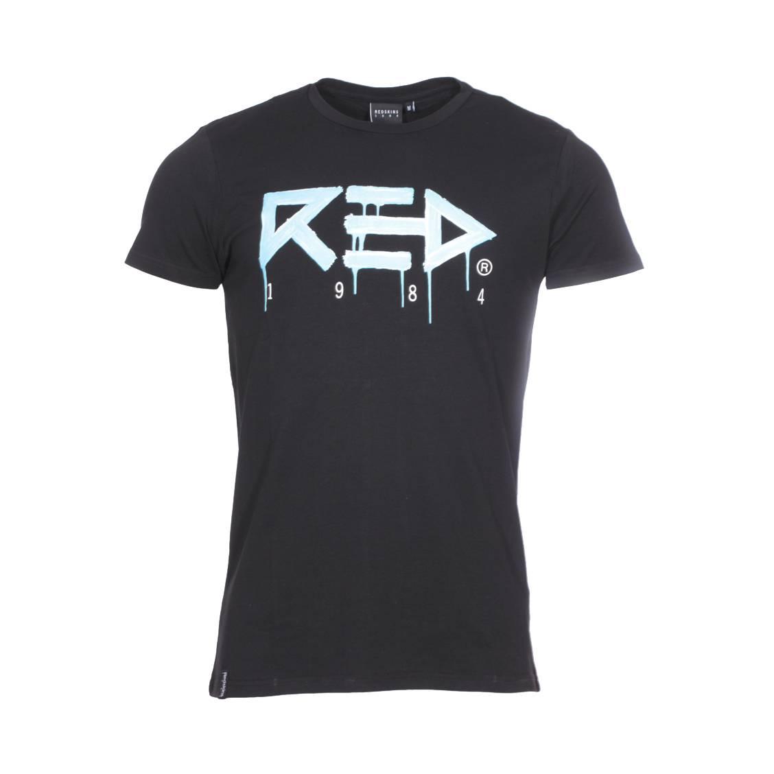 Tee-shirt col rond  undefeated en coton stretch noir floqué en bleu