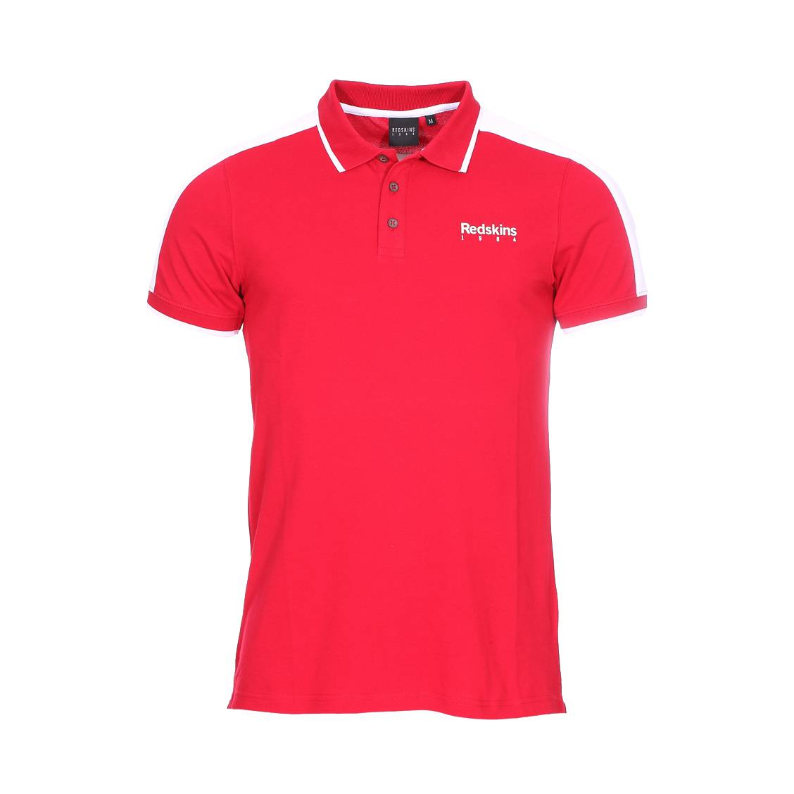 Polo  bheme en coton stretch rouge à oppositions blanches