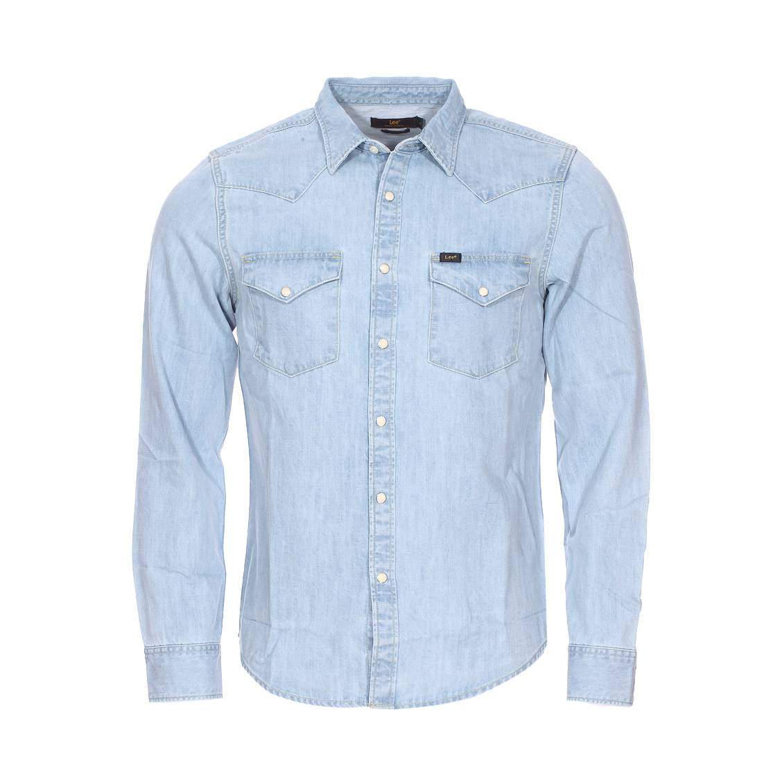 Chemise  en coton bleu clair denim