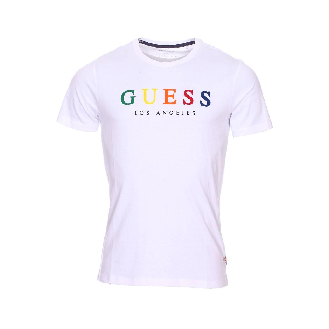 Tee-shirt guess en coton blanc floqué