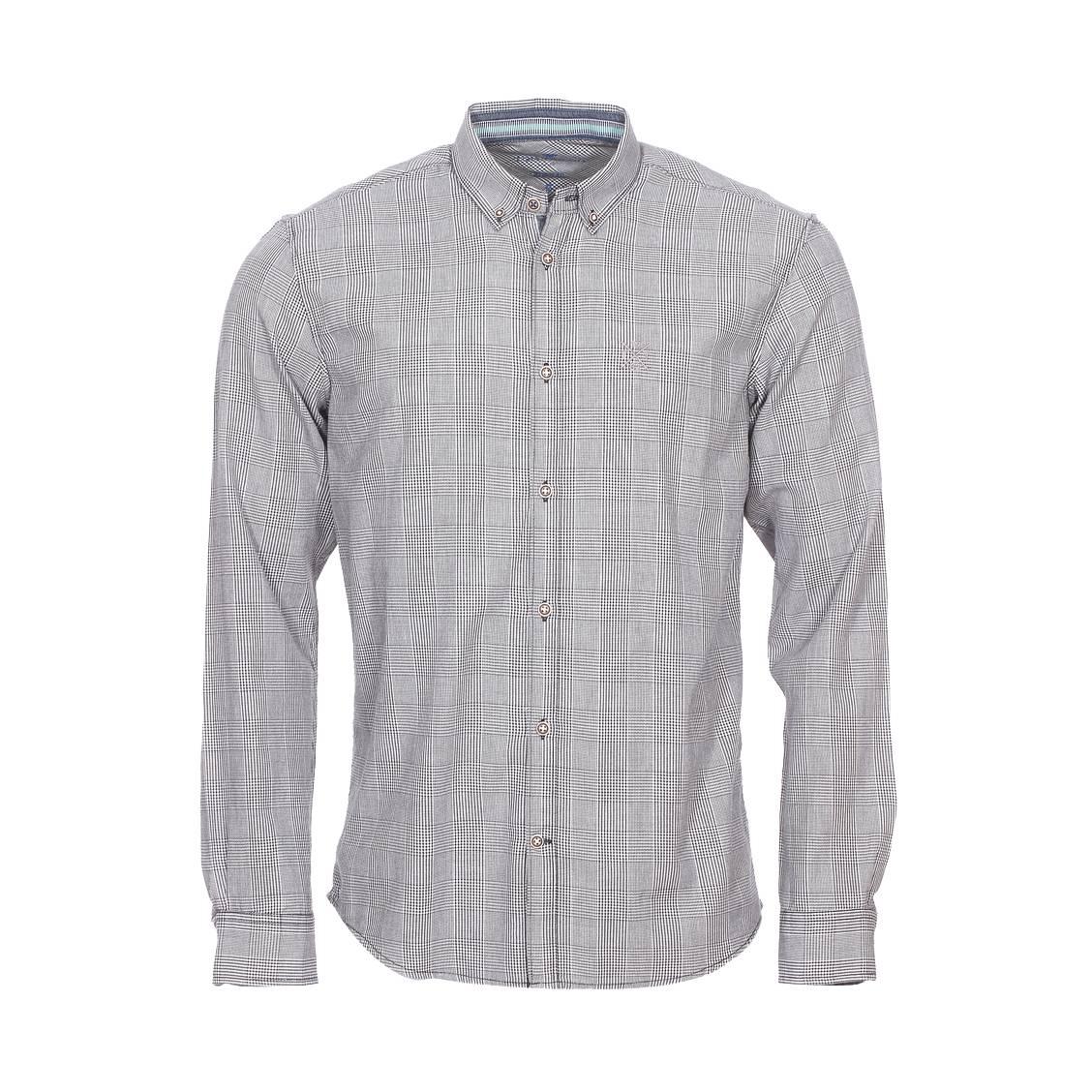 Chemise ajustée  en coton prince de galle gris