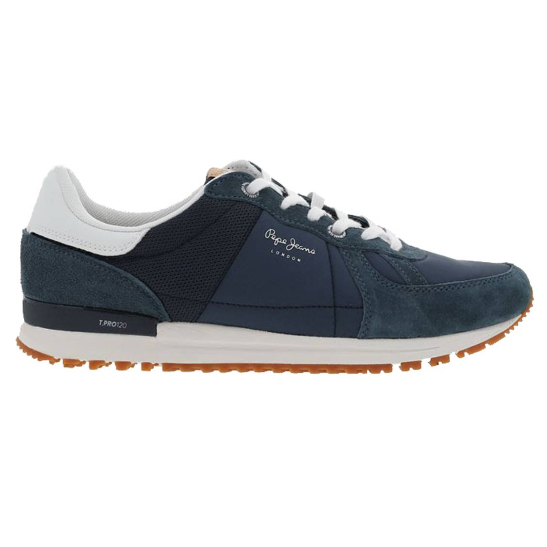 Baskets pepe jeans tinker en cuir et mesh bleu marine et blancs