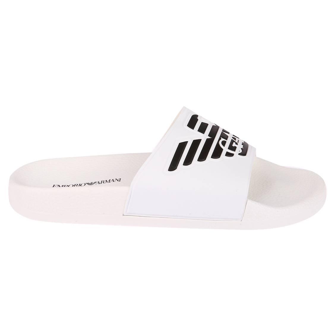 Sandales  blanche à logo noir