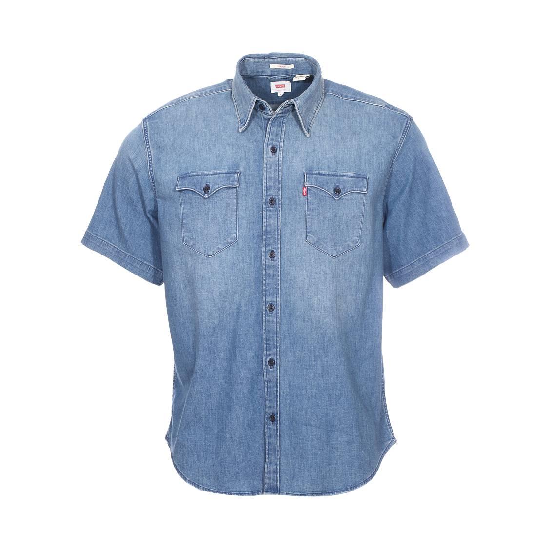 Chemise droite en jean manches courtes levi\'s modern barstow en coton stretch bleu légèrement délavé