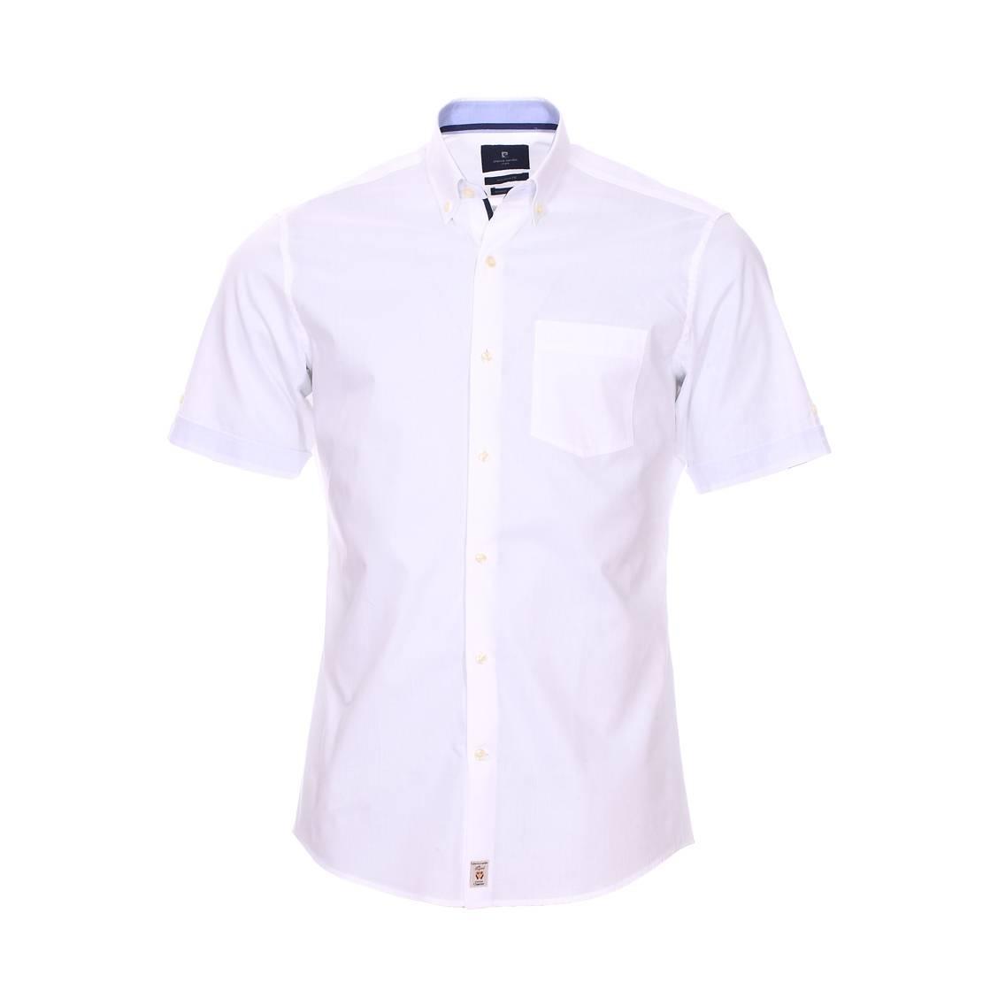Chemise ajustée  en coton blanc à opposition bleu denim