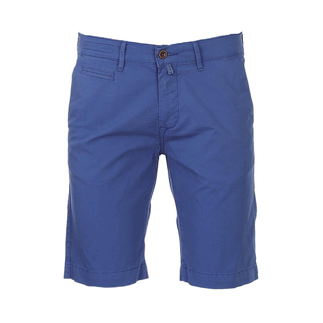 Short chino  lyon en coton stretch bleu indigo