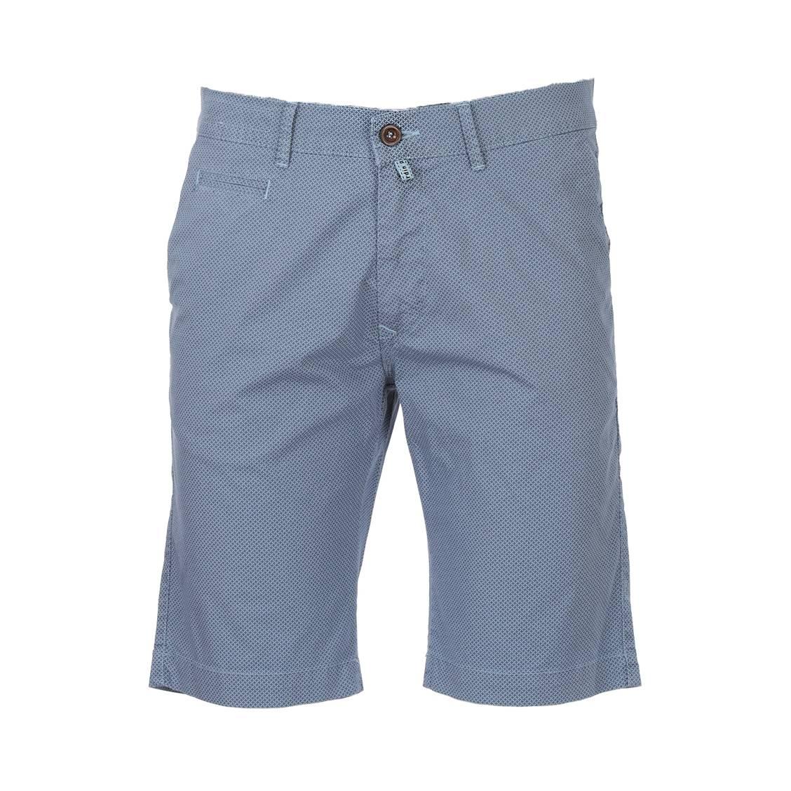 Short chino  lyon en coton stretch bleu ciel à micro motifs bleu pétrole