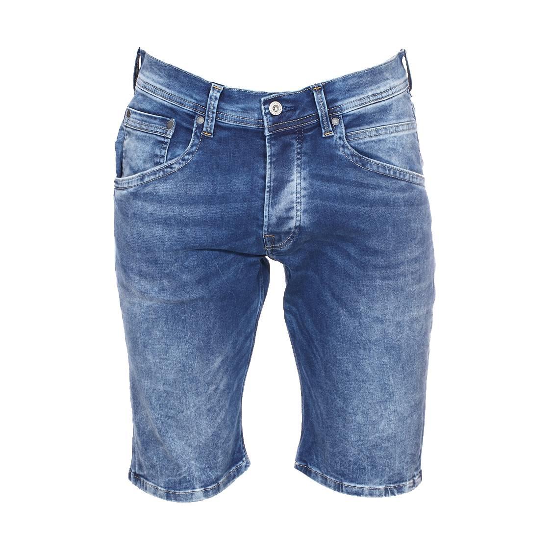 Short en jeans  track en coton stretch bleu