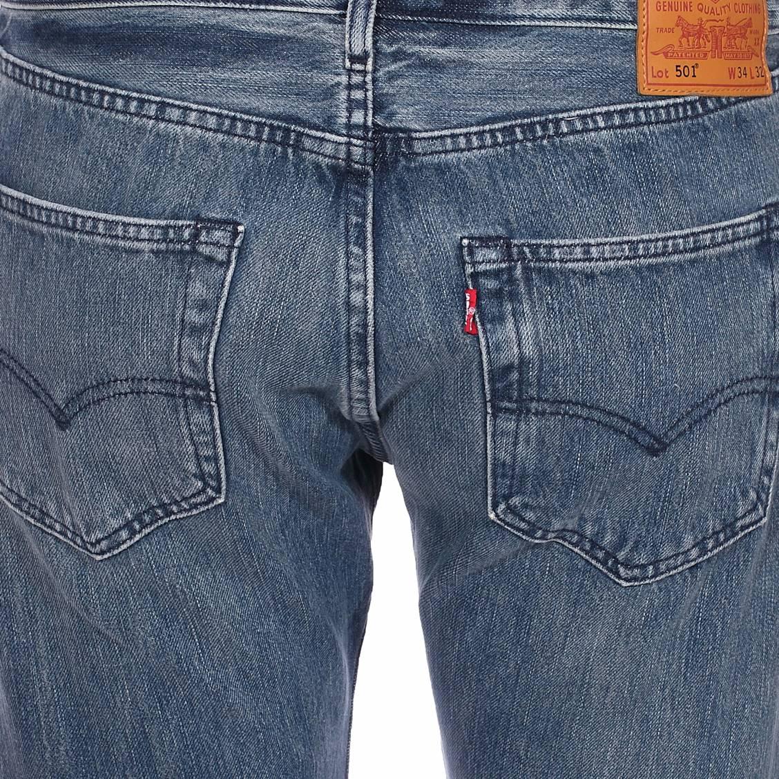 4a75c206c3ed4 ... Jean Levi's 501 Original Fit Tissue en coton stretch bleu délavé ...